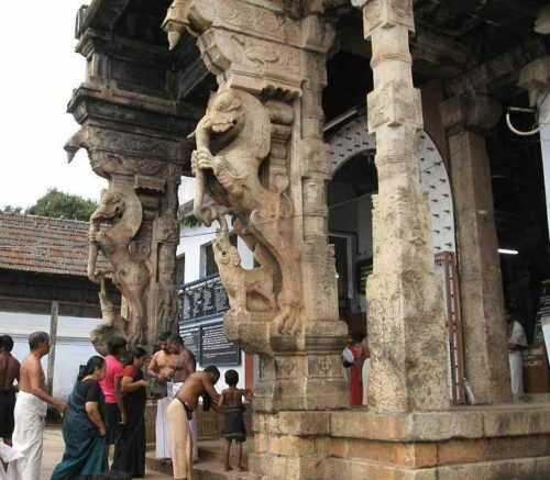 yali pillars at entrance to Padmanabhaswamy temple Thiruvanthapuram