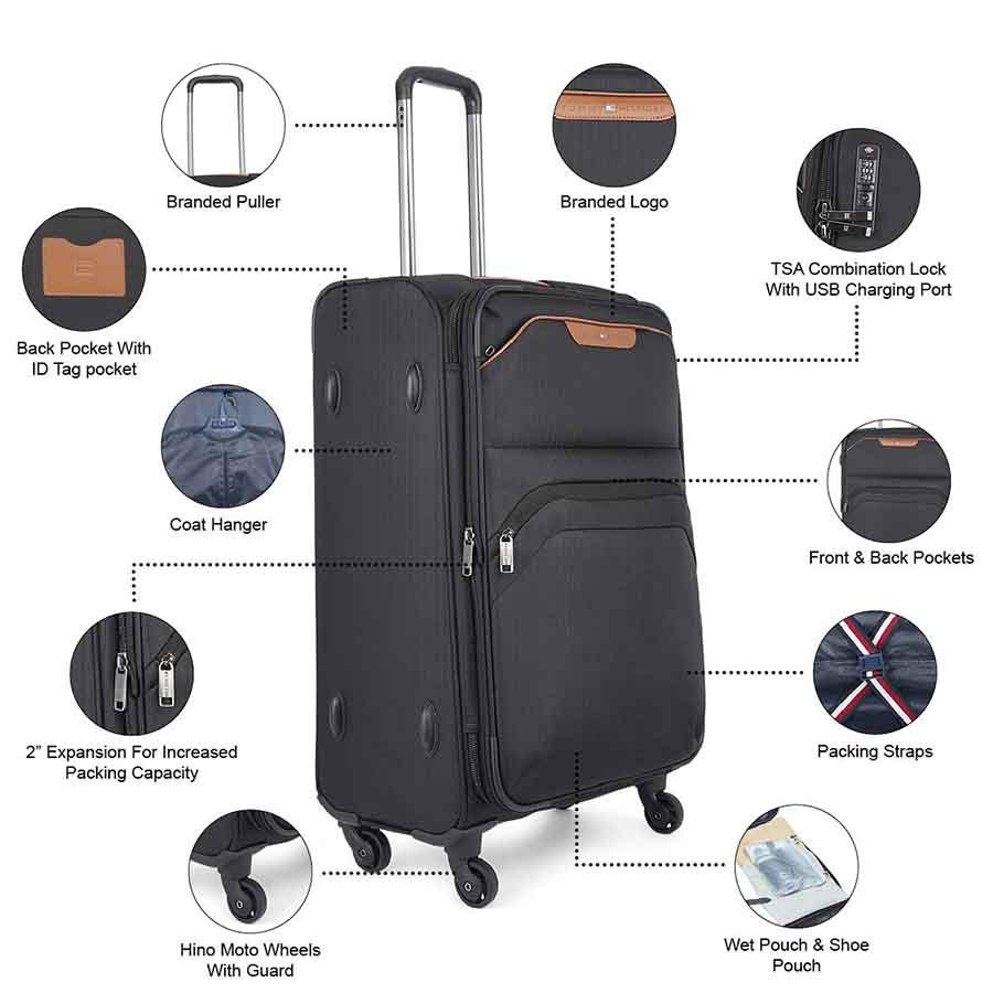 Tommy Hilfiger Black Polyester Softsided Luggage for Travel